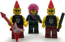 LEGO 3 NEW PUNK ROCKER MINIFIGURES GIRL AND GUY MUSICIANS WITH GUITAR FIGURES