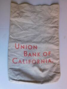 Vintage UNION BANK OF CALIFORNIA CANVAS MONEY BAG