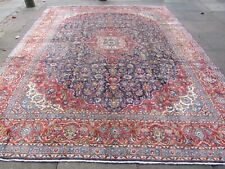 Vintage Hand Made Traditional Oriental Wool Faded Blue Large Carpet 378x295cm