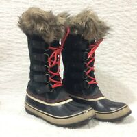 Sorel JOAN OF ARCTIC Snow Boots BLACK RED Rare SZ 11 Womens NL1540-011 Faux Fur