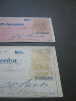 vTg 1866 bronze 2 diff RN-B5 Natl Bank No Am NY checks imprinted revenue stamps