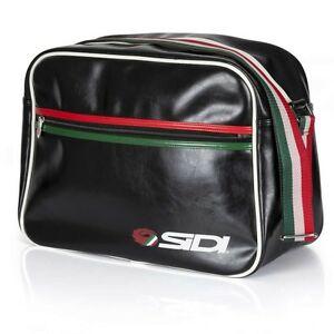 SIDI CASUALS LUXE FLIGHT COURIER SATCHEL BAG TRACK ITALIAN FLAG - BLACK