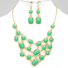 Gold and Green Bib Necklace Set