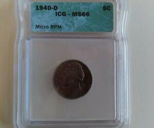 1940 D Jefferson Nickel MS66
