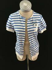 Abercrombie and Fitch short sleeve zip up jacket Size L blue white striped