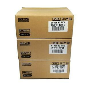 Maxell ST-126 SE-180 BQ Professional VHS Video Cassettes - Case of 30 VHS Tapes