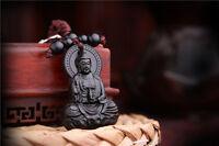 Black Wood Carving Chinese Kwan Guan Yin Statue Sculpture Pendant Key Chain