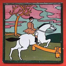 Equestrian Jockey Horse Riding Vintage Spanish Handpainted Tile Spain Cedolesa