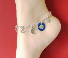 CELESTIAL ANKLET Saturn Planet Moon & Stars Boho Pastel Goth Anklet Handmade