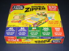 New listing H-E-B Texas Tough Double Zipper Variety Pack Ziploc Bags 370 Count - Brand New!