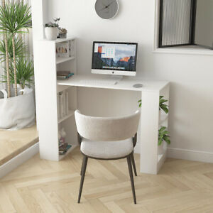 Computer Table with Shelves Home Storage Furniture Office Desk Workstation White