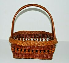 "Large 12x9"" OVAL Natural TWIG WICKER BASKET Woven Handle Gift Fruit Gathering"