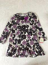 Osh Kosh Dress 8 Girls Drop Waist 100% Cotton Ruffle Black Purple Floral NWT