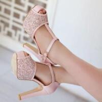 Womens Peep Toe Chunky Heel Bling Glitter Shoes Sandals T-Strap High Platform