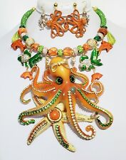 Orange Lives Matter Big Octopus Fish Crystal Necklace 2 x Earrings One of a Kind