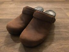 Sanita Womens Brown Oiled Leather Clogs Mules Shoes EU 39 US 7.5 8