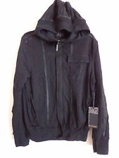 Men's Salvage sun spade leather design black hoodie jacket mezzanine Size S NWT