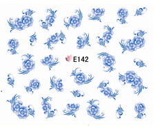 3D Nail Art Decals Transfers Stickers Blue Flowers (E142)