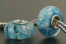 3 Blue Murano Lampwork Large hole Glass charm Beads Fits European Bracelets G39