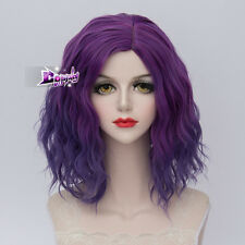 35CM Purple Short Curly Hair Lolita Women Ombre Cosplay Anime Party Wig + Cap