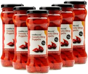 Cooks & Co Sweety Drop Red Peppers in Brine 235g (Pack of 6)
