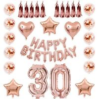 18/21/30/40/50/60 Rose Gold Happy Birthday Bunting Banner Balloons  Party Decor