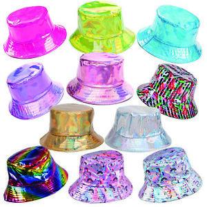 Bucket Hat Holographic Festival Shiny Rave 90s Costume Waterproof Metallic
