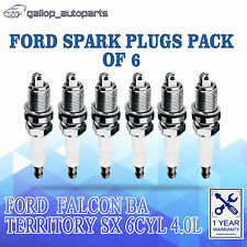 6 x Spark Plugs 1.3mm For Ford Falcon BA XR6 Territory SX 6cyl Petrol 4.0L
