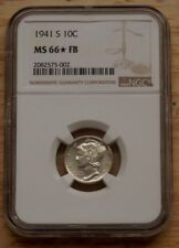 1941-S 10c silver mercury dime NGC MS66 Star Full Bands/FB