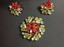 Signed Costume Jewelry Vintage Regency Brooch Rhinestone Flower Pin Earrings Set
