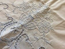 Vintage Hand Embroidered Pillowcase Pale Blue Stitching