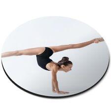 Alfombrilla ratón redonda-ejercicio fitness #45270 gimnasta gimnasio, hacer yoga