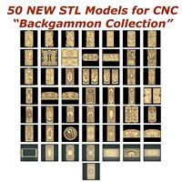 50 NEW Backgammon 3d STL Models - for CNC Router 3d-Printer Artcam Aspire Cut3d