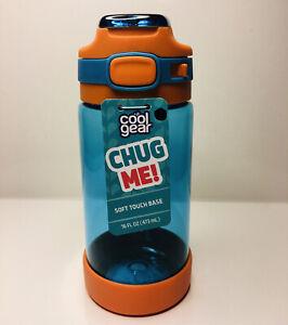 COOL GEAR Chug Me Tritan Bottle Blue/Orange Lockable Leak Proof Carry Loop 16 oz