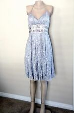 NWOT SUE WONG JEWELED HALTER LACE TULLE DRESS Silver, M / 6-8-10, Party Ceremony