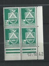 ALGERIE  N°  177   BLOC  DE  4 COIN  DATE   12/10/42   CONSTANTINE   NEUFS **