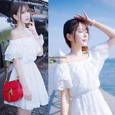 Summer Beach Women Lace Off Shoulder Slim A Line Sundress Party Club Short Dress