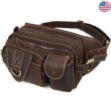 Vintage Leather Waist Bag For Men Fanny Pack Shoulder Sling Bag Travel Backpack