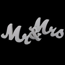Wooden Mr and Mrs Letters Sign Standing Top Table Wedding Venue Decor White