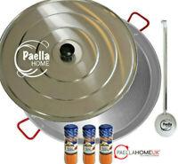 80cm PAELLA PAN SET - PROFESSIONAL POLISHED STEEL & SPOON & LID + PAELLA GIFT