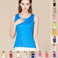 Womens Girls 100% Pure Silk Knitted Tank Tops T Shirts Singlet Blouse