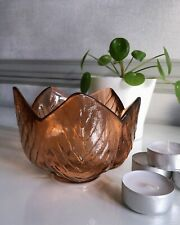 Small Decorative Orange/Rustic Coloured Glass Leaf Bowl - Recycled Glass