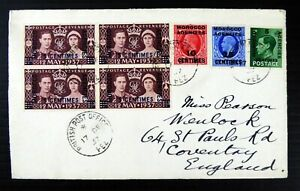 GB Morocco Agencies 1937 Selection of Stamps on Cover from Fez to England DF491
