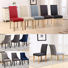 REFURBISHED 2X Faux PU Leather Fabric Velvet Seat Dining Room Chairs Wooden Legs