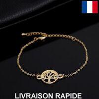 Bracelet Arbre De Vie Doré Chaîne Femme Bijoux Cadeau Saint valentin Love Amour