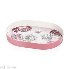 Küchentablett Serviertablett Rosa Pink Oval mit Blumenmotiven