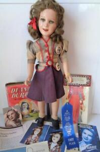 """1938 Ideal Deanna Durbin 20"""" Composition Doll in Rare Coco Chanel Outfit Buttons"""