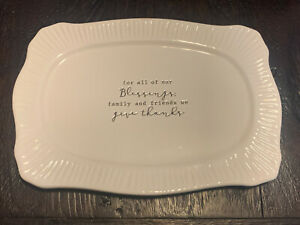 Mud Pie Tray Plate For all of our Blessings Family and Friends We Give Thanks