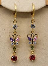 18K Yellow Gold Filled - 1.9'' Butterfly Amethyst Peridot Topaz Dangle Earrings