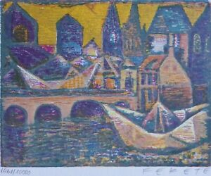 "Esteban Fekete ""The paper boat"" HAND SIGNED 1975 woodcut Hungarian/German"